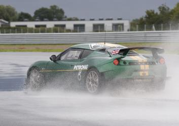 Evora GT4 Rr3Qtr action wet test