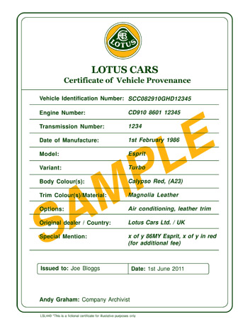Certificate of Provenance Sample