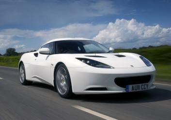 Evora Fr3Qtr Action White driving on road
