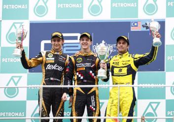 James Calado, Esteban Gutierrez, Podium, Sepang Malaysia 2012 GP2